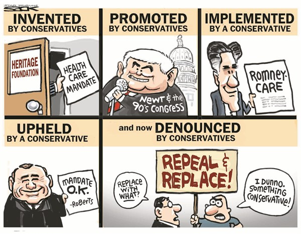 Steve Sack - The Minneapolis Star Tribune - Health Care Mandate - English - health care,mandate,newt,congress,conservative,upheld,roberts