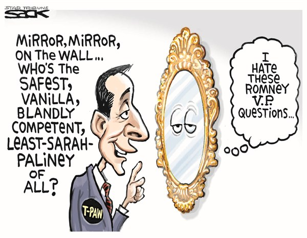 Romney VP Questions © Steve Sack,The Minneapolis Star Tribune,romney,vp,questions,palin,vice president,campaign,election,