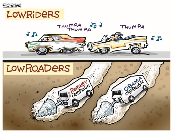 Steve Sack - The Minneapolis Star Tribune - Lowroaders - English - obama,romney,campaign,election,road,obama-romney