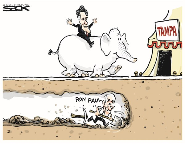Steve Sack - The Minneapolis Star Tribune - Tunneling to Tampa - English - ron paul,tampa,florida,convention,campaign,election,republican-convention-2012