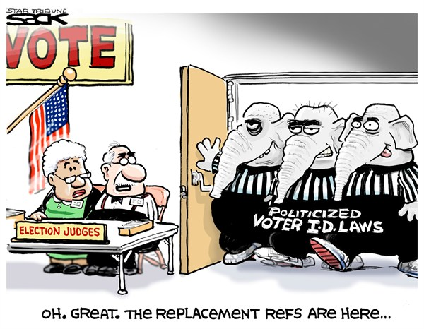 Steve Sack - The Minneapolis Star Tribune - Voter ID - English - replacement ref,voter ID,Republicans,vote,election