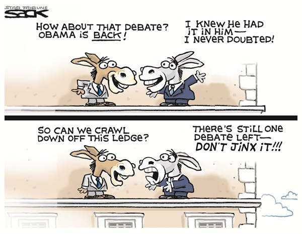 Steve Sack - The Minneapolis Star Tribune - One More Debate - English - debate 3,jinx,obama,campaign,election,reelection,obama reelection