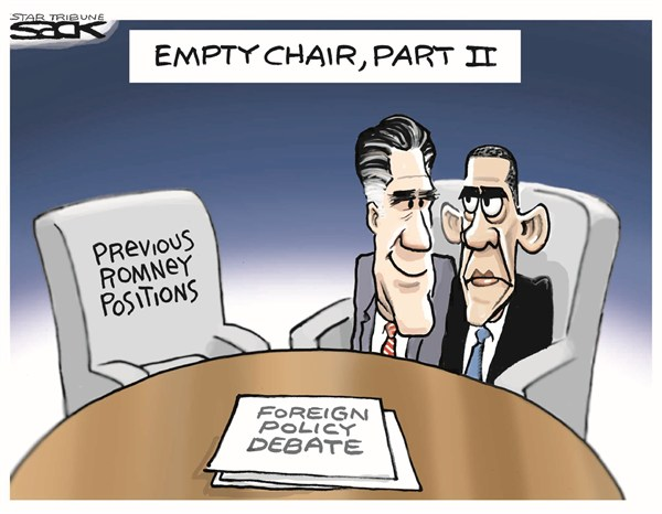 Steve Sack - The Minneapolis Star Tribune - Empty Chair, Part 2 - English - foreign policy,debate,obama,romney,decisions,issues,foreign-policy-debate,empty-chair