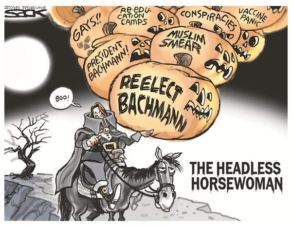 Steve Sack - The Minneapolis Star Tribune - The Headless Horsewoman - English - bachmann,election,gays,muslim,reelection,vaccine,political-halloween