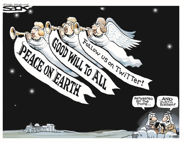 Steve Sack - The Minneapolis Star Tribune - Follow Us - English - peaceonearth,pope,twitter,justin beiber,earth,peace,tweet,pope on twitter