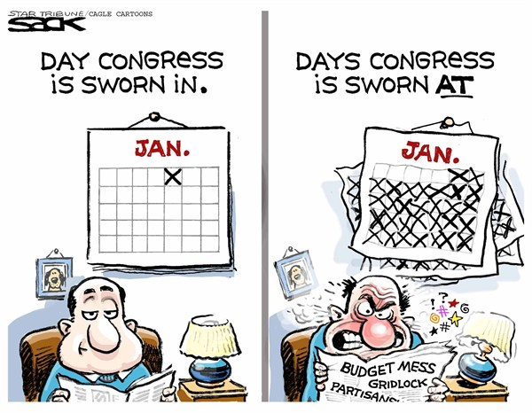 Steve Sack - The Minneapolis Star Tribune - new Congress sworn in - English - Congress, budget, bipartisanship, gridlock, politics, legislators, politician