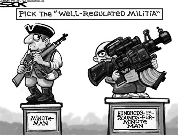 Steve Sack - The Minneapolis Star Tribune - Well Regulated Gun Control - English - gun, guns, gun control, weapomns, NRA, Second Amendment