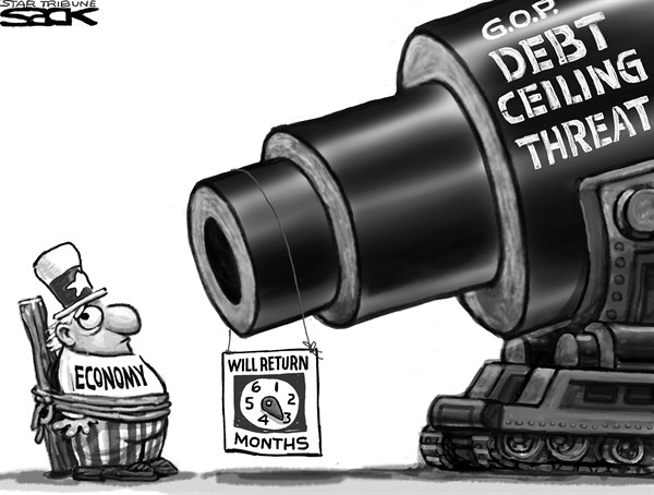 Steve Sack - The Minneapolis Star Tribune - Debt Ceiling Gun - English - debt ceiling, Congress, GOP, deadline