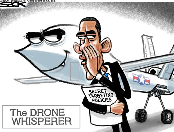 Drone Whisperer © Steve Sack,The Minneapolis Star Tribune,OBAMA,DRONE,CIA, obama drones