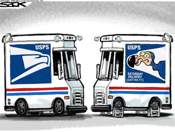 Saturday Mail Dodo © Steve Sack,The Minneapolis Star Tribune,USPS,mail,Saturday mail,postal,delivery,Post Office