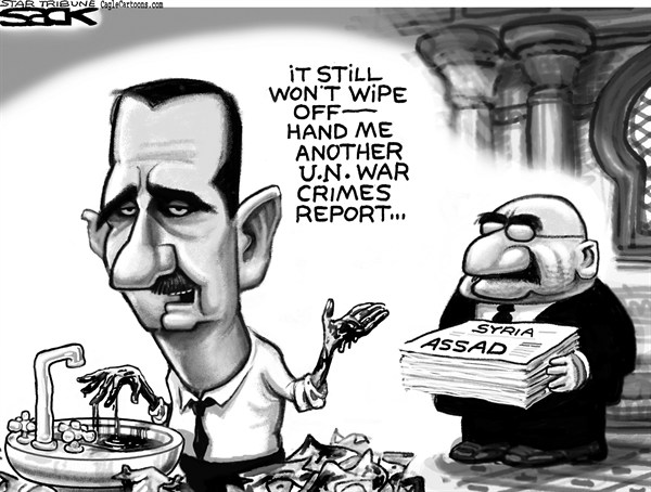Steve Sack - The Minneapolis Star Tribune - Bloody Assad GRAYSCALE - English - Assad Syria, UN, United Nations, war crime