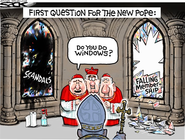 Steve Sack - The Minneapolis Star Tribune - New Pope COLOR - English - Pope, Vatican, scandal, new pope