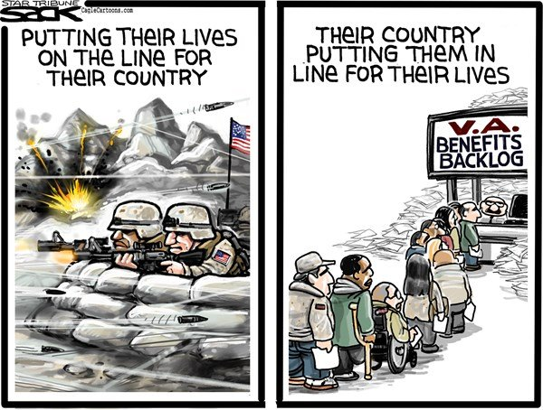 Steve Sack - The Minneapolis Star Tribune - VA Lines COLOR - English - veterans, veterans benefits, V A,