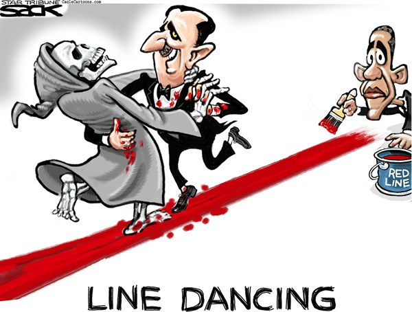 Steve Sack - The Minneapolis Star Tribune - Syria Line Dance COLOR - English - Syria, Obama, red line
