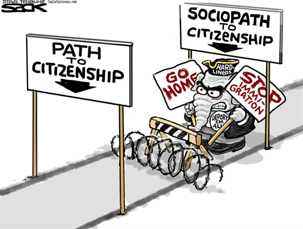 Steve Sack - The Minneapolis Star Tribune - Path to Citizenship COLOR - English - immigration