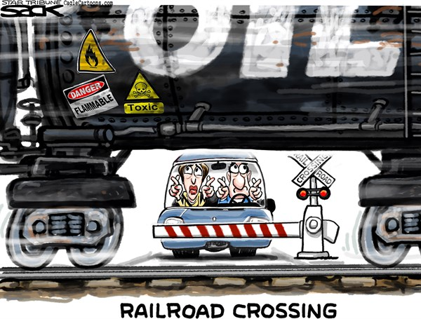 Steve Sack - The Minneapolis Star Tribune - Train Safety COLOR - English - train, safety, railroad, oil transport, pipeline
