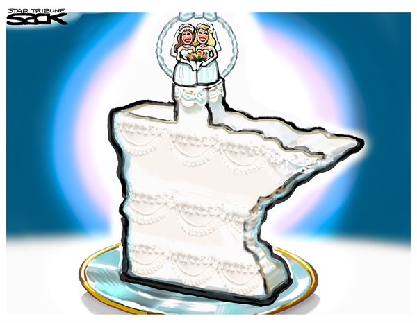 Steve Sack - The Minneapolis Star Tribune - Minnesota Marriage=    localCOLOR - English - Marriage equality, gay marriage, Minnesota