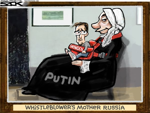 Steve Sack - The Minneapolis Star Tribune - Whistler's Leaker COLOR - English - Snowden, Putin, Russia, NSA