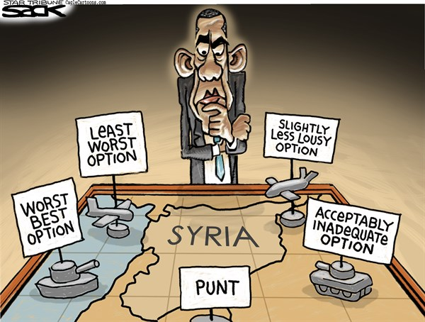 Steve Sack - The Minneapolis Star Tribune - Syria War Room COLOR - English - Syria, war, Obama, intervention