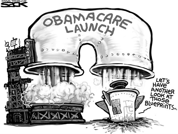 Steve Sack - The Minneapolis Star Tribune - Obamacare Misfire - English -