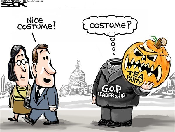 Steve Sack - The Minneapolis Star Tribune - GOP Pumpkin COLOR - English - GOP, Republican, Tea party