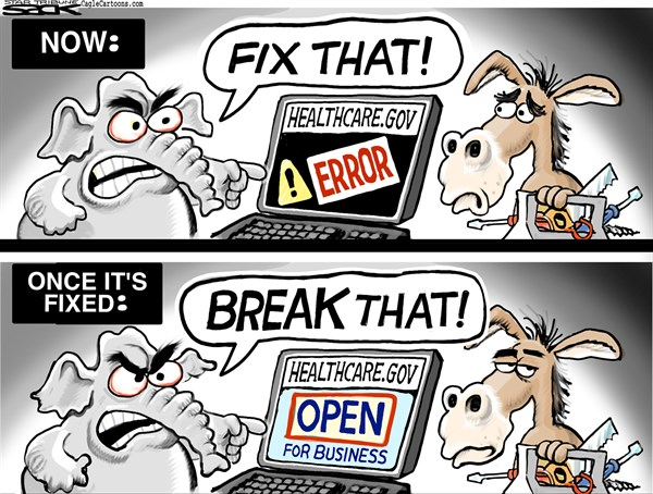Steve Sack - The Minneapolis Star Tribune - Website Glitches COLOR - English - Obamacare, website, Republicans