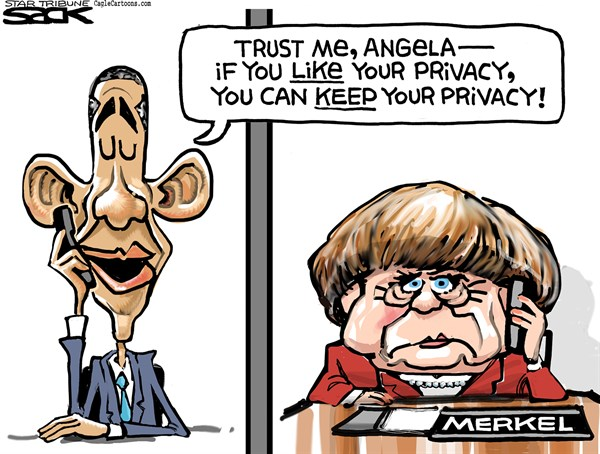 Steve Sack - The Minneapolis Star Tribune - Merkel Privacy COLOR - English - Merkel, NSA