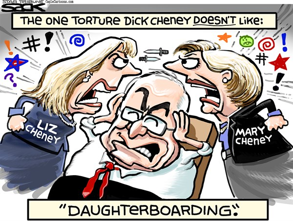 Steve Sack - The Minneapolis Star Tribune - Cheney Sister Spat COLOR - English - Cheney, Liz Cheney, Mary Cheney, Dick Cheney