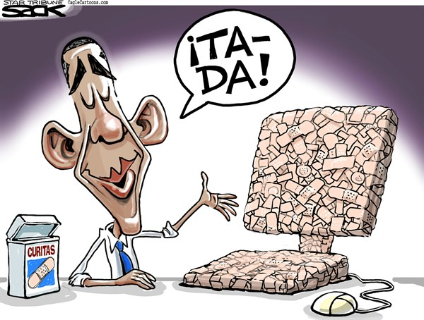 Steve Sack - The Minneapolis Star Tribune - Arreglo en el Sitio Web / COLOR - English - Barack,Obama,presidente,USA,Salud,Obamacare,ACA,website,sitio,web