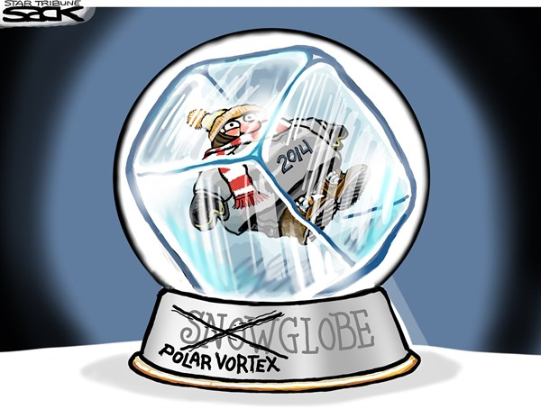 Steve Sack - The Minneapolis Star Tribune - Vortexglobe COLOR - English - weather, cold, polar vortex