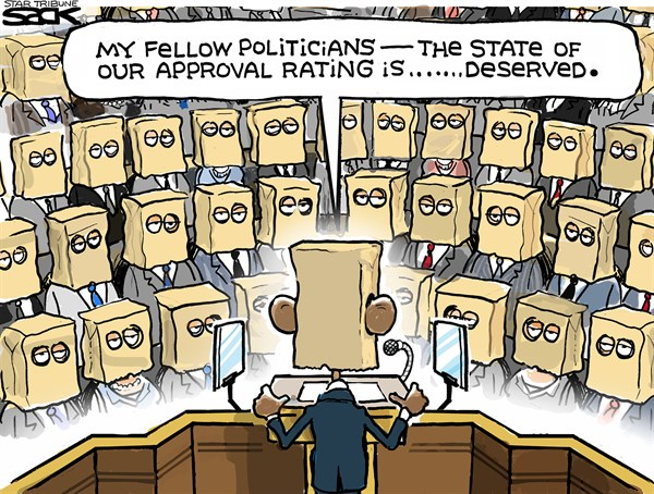 Steve Sack - The Minneapolis Star Tribune - State of Embarrassment COLOR - English - State of union, Obama