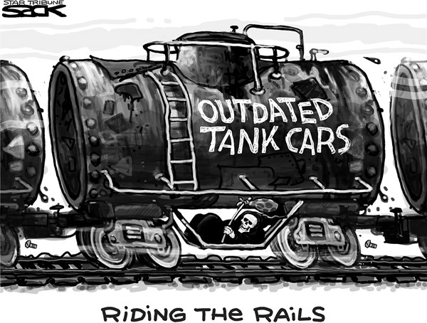 Steve Sack - The Minneapolis Star Tribune - Troublesome Tanks - English - train, railroad, oil, oil transport, pipeline