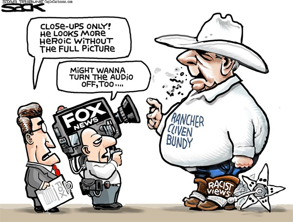 Steve Sack - The Minneapolis Star Tribune - Fox and Foul Friend COLOR - English - Fox News, Bundy, Cliven