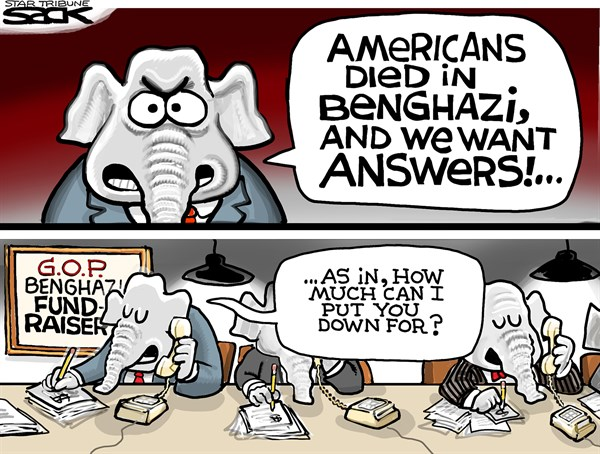 Steve Sack - The Minneapolis Star Tribune - Benghazi Bucks COLOR - English - Benghazi, Republicans