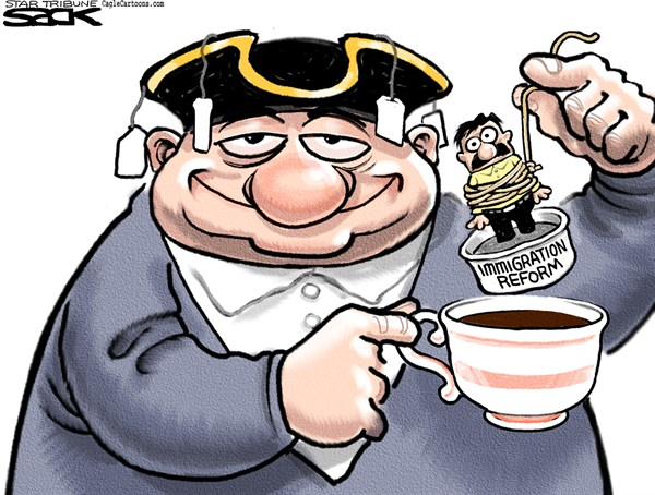 Tea Party Immigration Dunk © Steve Sack,The Minneapolis Star Tribune,Tea Party, immigration