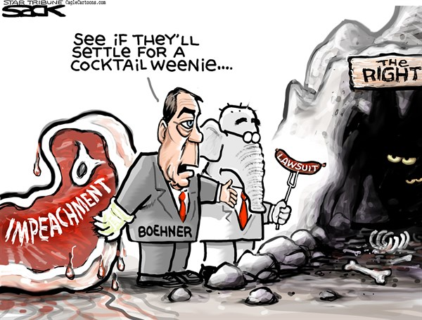 Steve Sack - The Minneapolis Star Tribune - Impeachment vs Lawsuit COLOR - English - impeach, impeachment, lawsuit, Boehner, Obama, GOP, Republican, the right