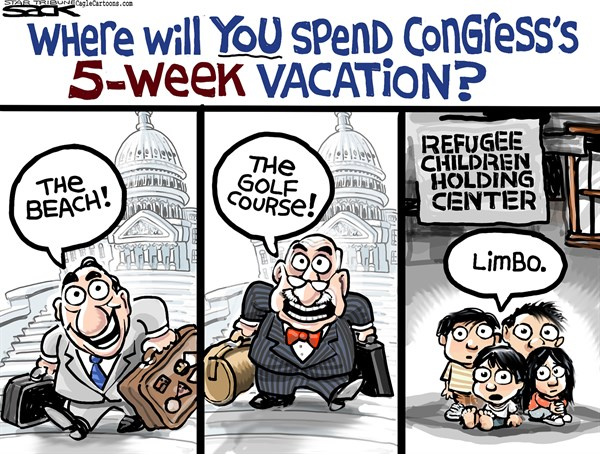 Steve Sack - The Minneapolis Star Tribune - Immigration Vacation COLOR - English - Congress, immigration