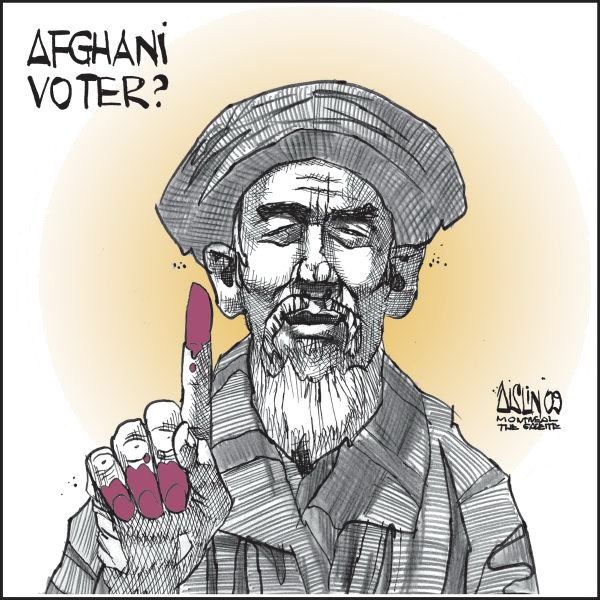 Aislin - The Montreal Gazette - Afghani election fraud - English - Afghanistan, election, fraud, voters
