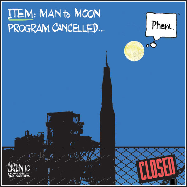 Aislin - The Montreal Gazette - Moon program cancelled - English - Obama, budget, moon program cut