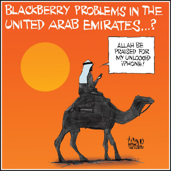 Aislin - The Montreal Gazette - Blackberry has problems in UAE - English - Blackberry, United arab Emirates, iPhone