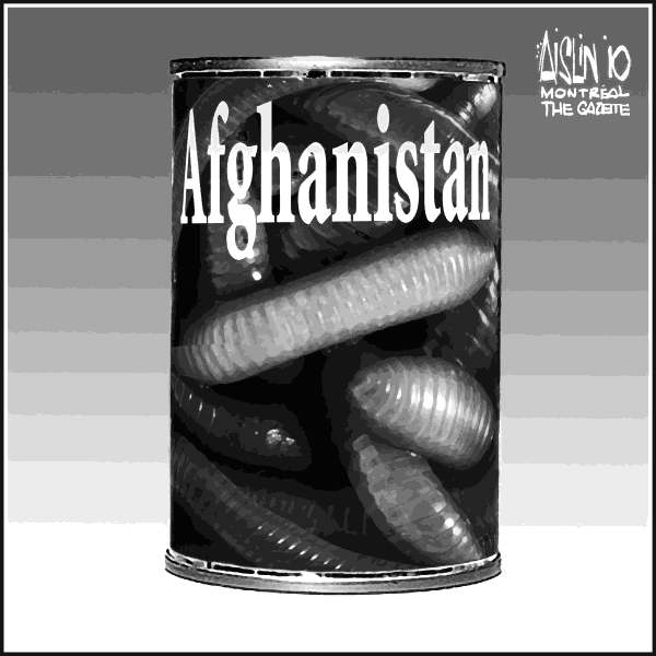 Aislin - The Montreal Gazette - Afghanistan - English - Afghanistan, can of worms, war, deaths, al-qaeda, taliban, terrorists
