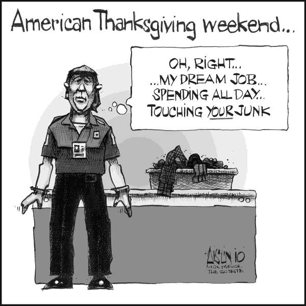 Aislin - The Montreal Gazette - Touching junk - English - touch, junk, Thanksgiving, TSA, body searches, screening, scanners
