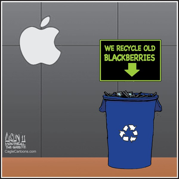 Aislin - The Montreal Gazette - Blackberry outage - English - Blackberry, RIM, Apple, iPhone