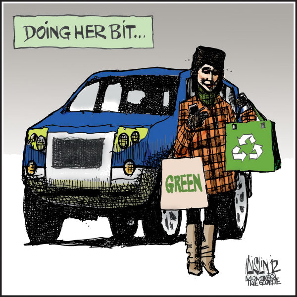 Aislin - The Montreal Gazette - Reusable shopping bags - English - reusable shopping bags, recycle, environment, green