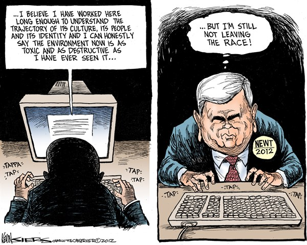 Newt Not Leaving © Kevin Siers,The Charlotte Observer,newt gingrich,race,leave,campaign,republican,gop