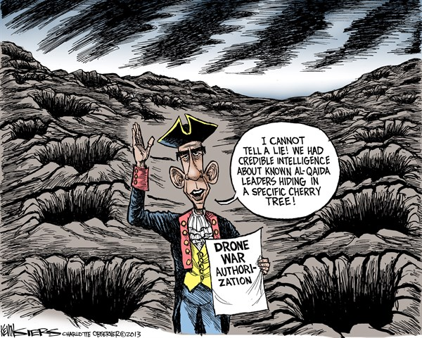 I Cannot Tell A Lie © Kevin Siers,The Charlotte Observer,drone,war,authorization,obama,al quaida