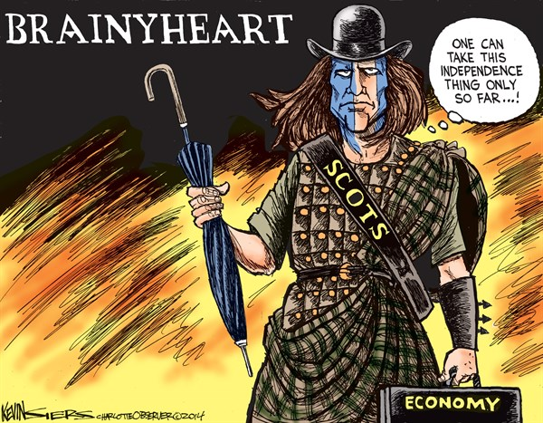 Brainyheart © Kevin Siers,The Charlotte Observer,scotland,economy,vote,scotland-stays