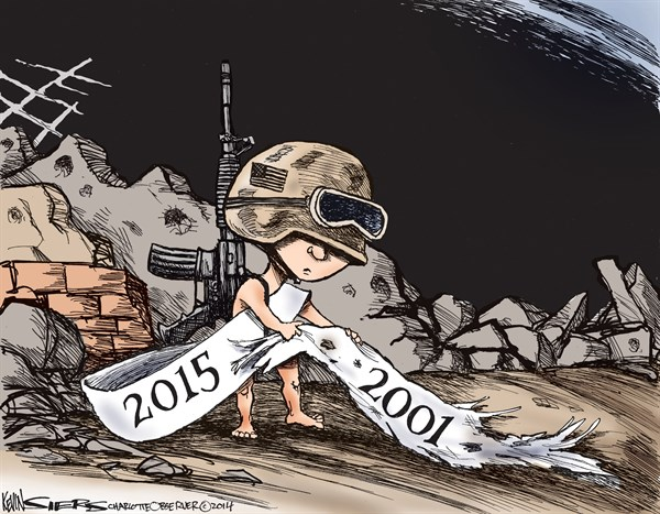 2015 Ongoing War © Kevin Siers,The Charlotte Observer,war,2015,iraq,afghanistan,new-year-2015