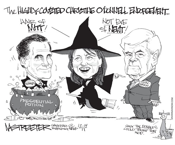 Double Double Toil and Trouble © Mark Streeter,The Savannah Morning News,Bachmann,Gingrich,Romney,witch,endorsement,president,2012,campaign