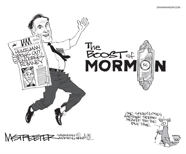 Two by Two © Mark Streeter,The Savannah Morning News,mormon,Romney,boost,Huntsman,endorsement,president,GOP,campaign